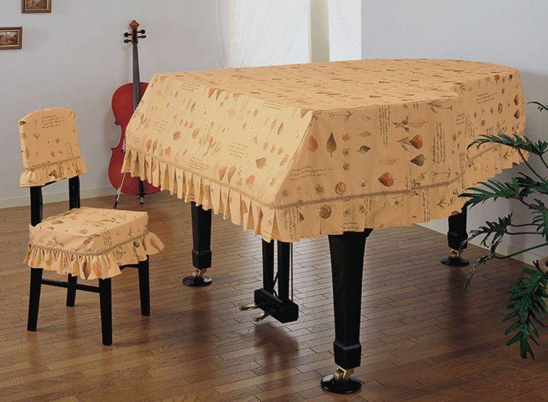 画像1: グランドピアノカバー・リーフプリント(旧カタログ品) (1)